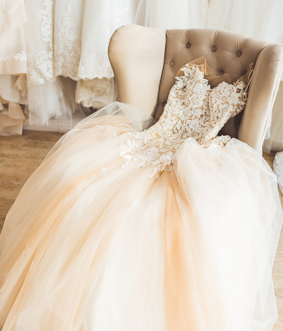 Wedding gown with full bodied skirt